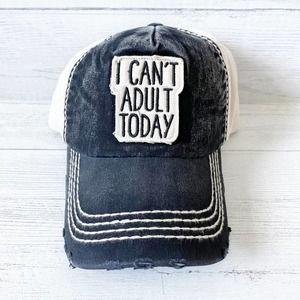 Distressed Black & Canvas I Can't Adult Today Hat